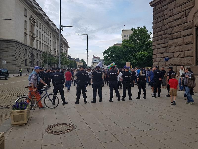 """Жандармеристи обградиха протестиращите срещу строежа на АЕЦ """"Белене"""" пред сградата"""