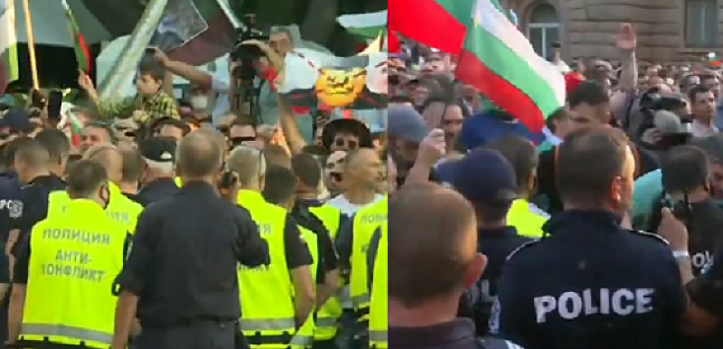 Група от протестиращи се опитаха да преодолеят полицейския кордон и
